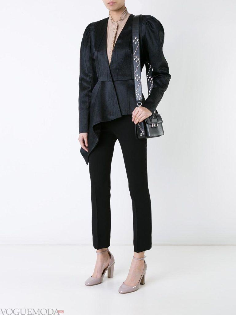 женский пиджак с асимметрией черный