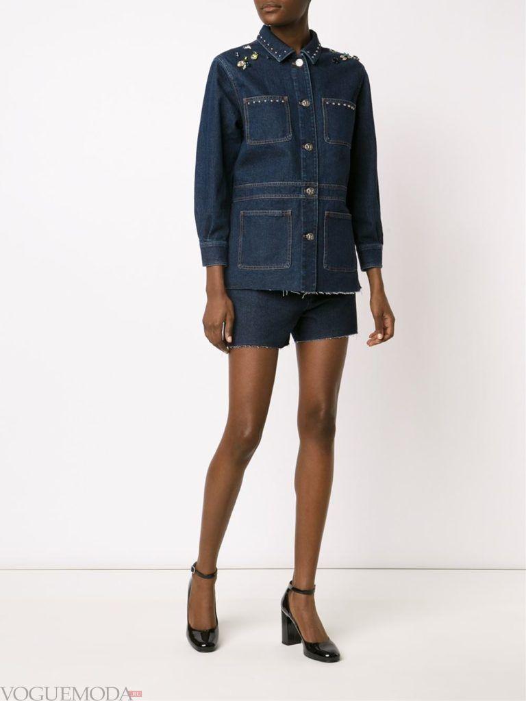 женский джинсовый синий