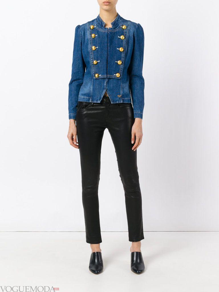 женский джинсовый с декором