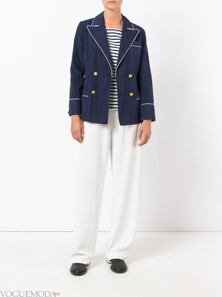 модный женский пиджак синий