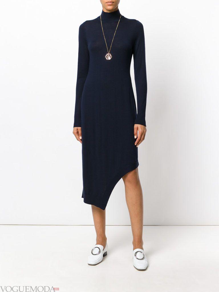 модное асимметричное платье синее