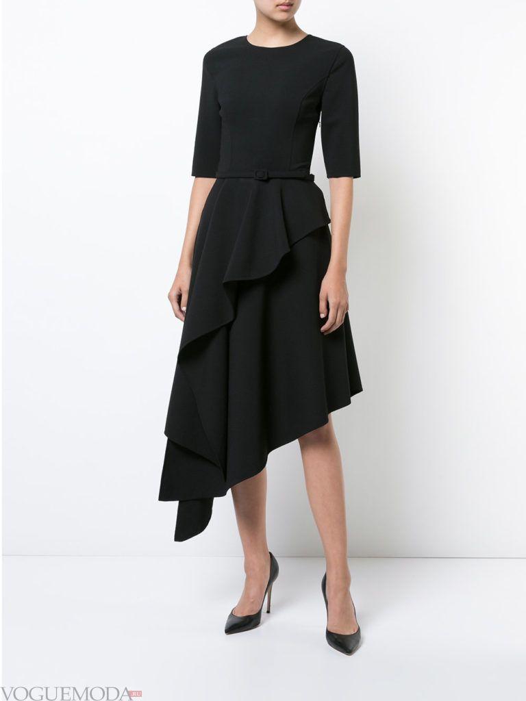 модное асимметричное платье черное