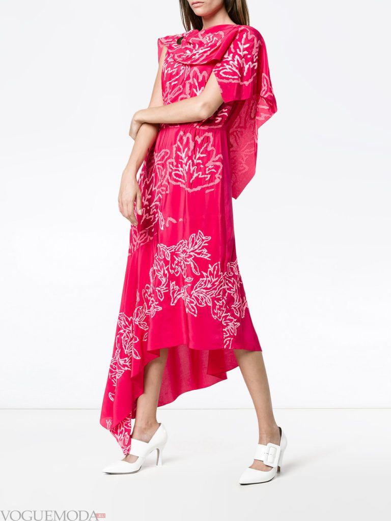 модное асимметричное платье розовое
