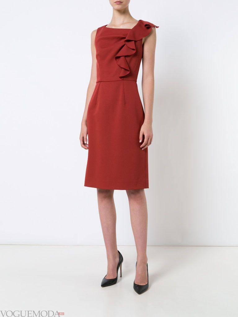 модное прямое платье-футляр с декором