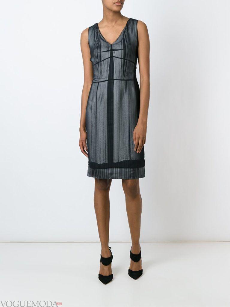 модное прямое платье-футляр темное