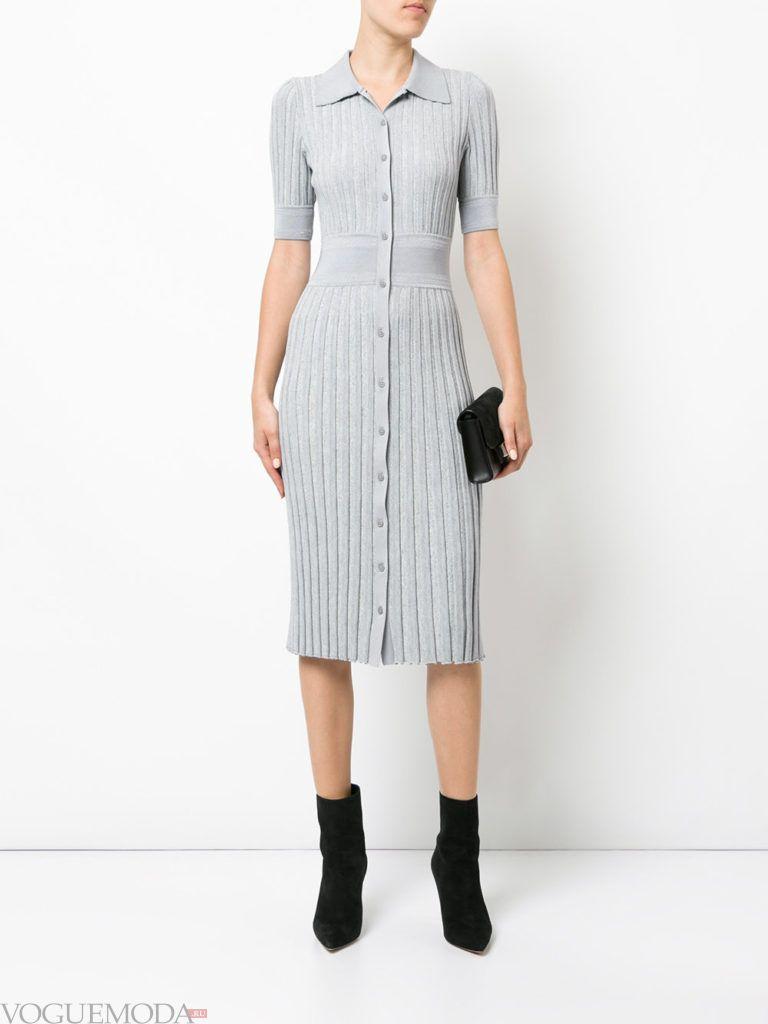 модное платье длины миди серое