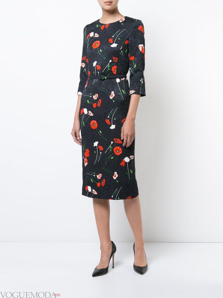 модное платье длины миди с принтом