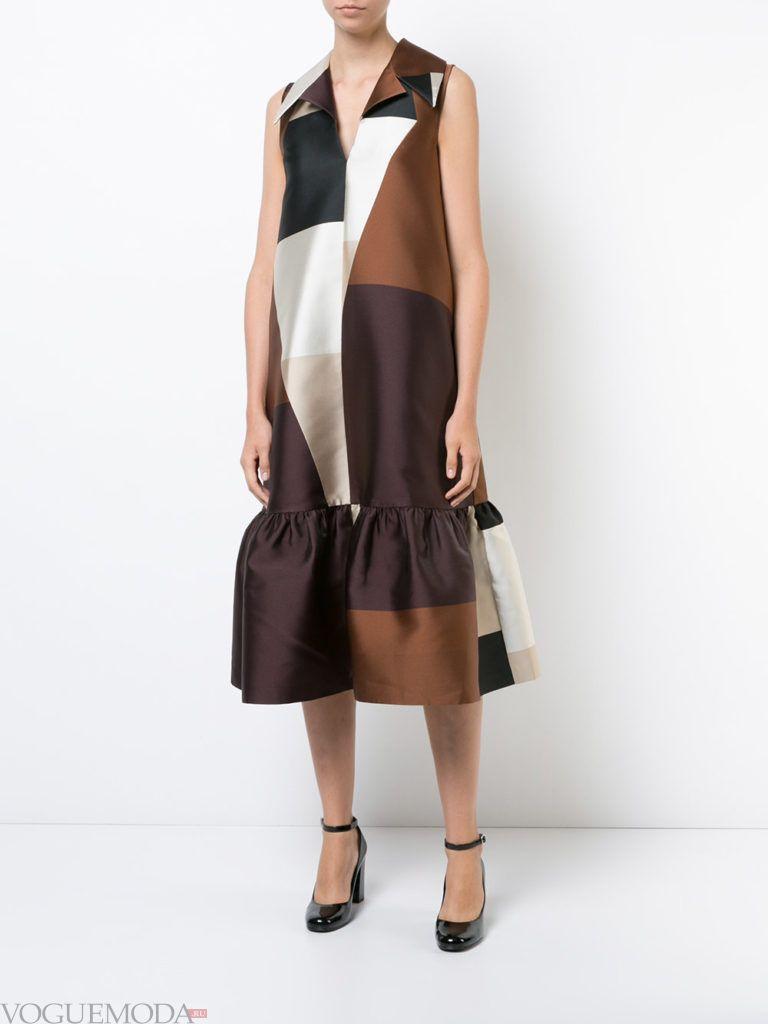 модное платье длины миди многоцветное