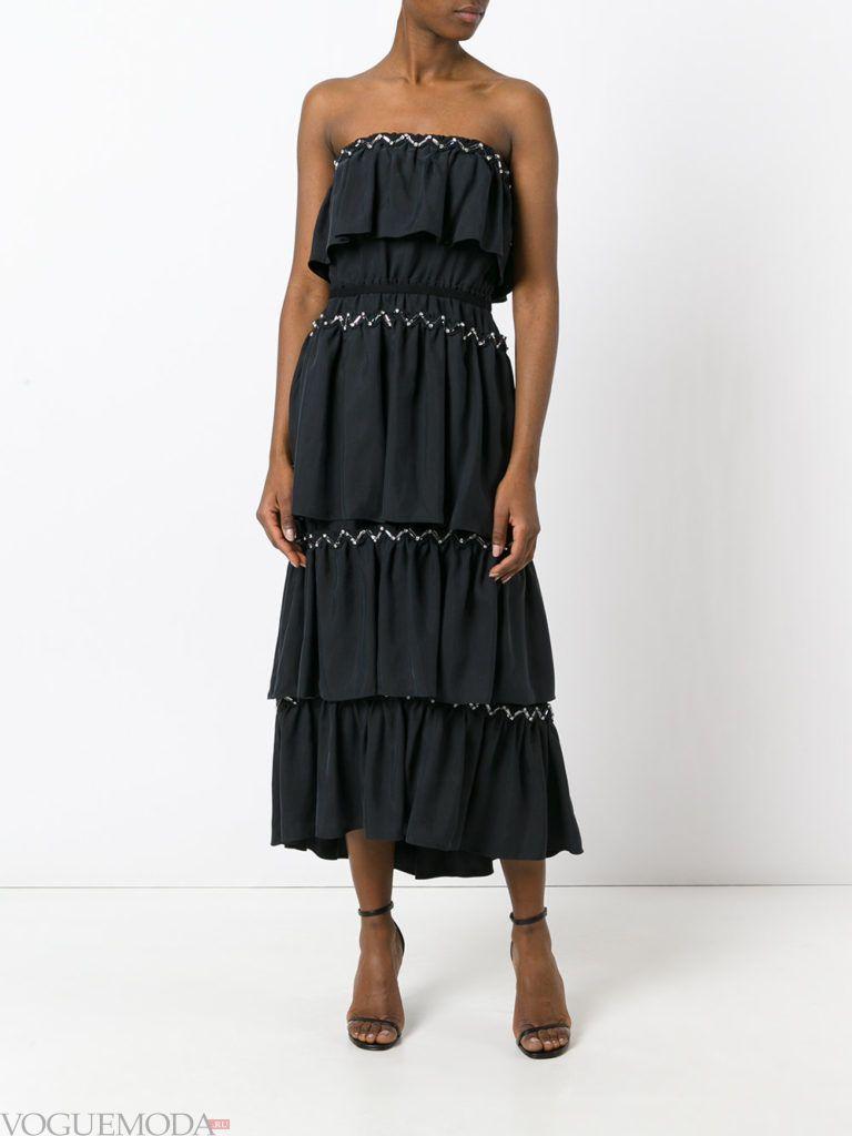 модное платье «смок» черное