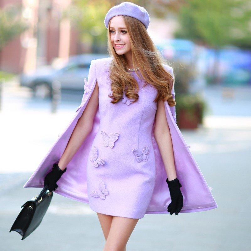 модное платье с накидкой-пончо сиреневое