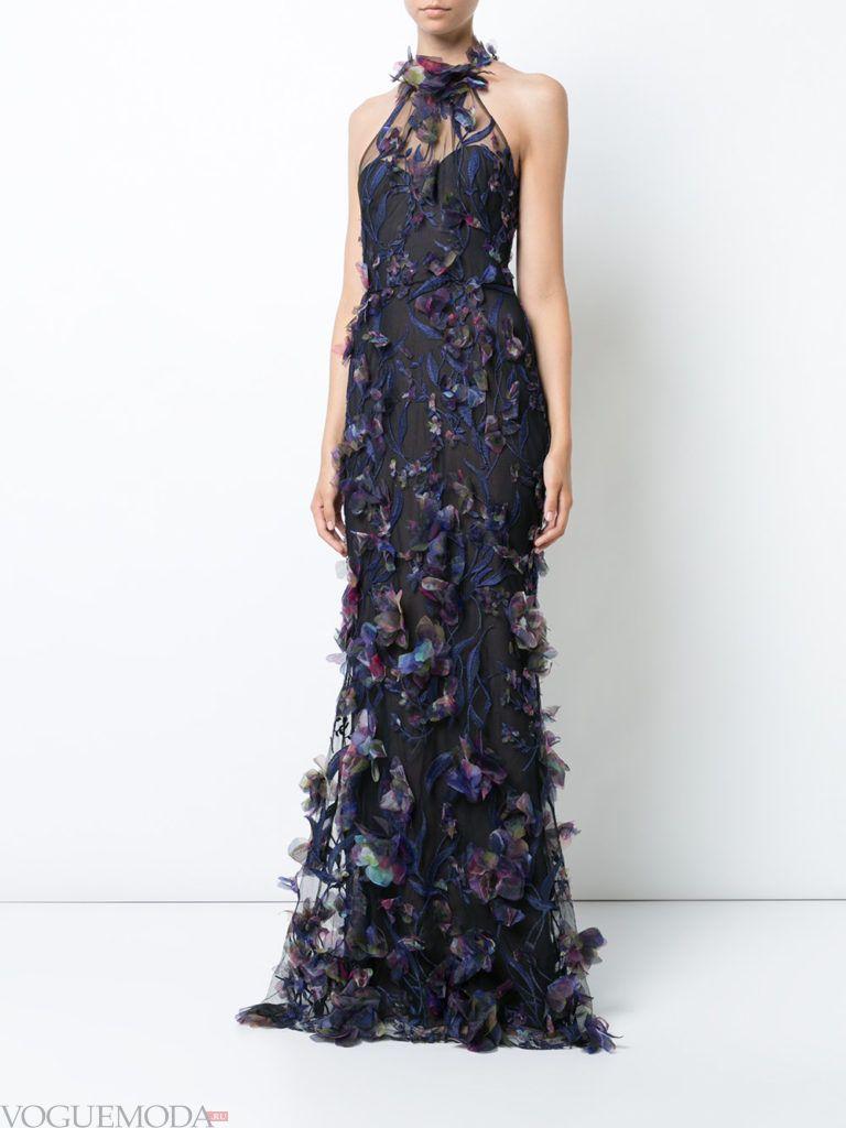 модное платье «годе» синее