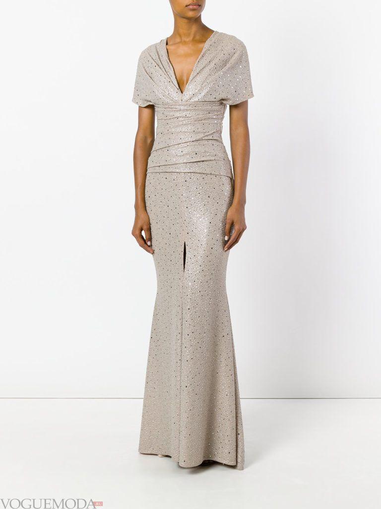 модное платье «годе» серебристое