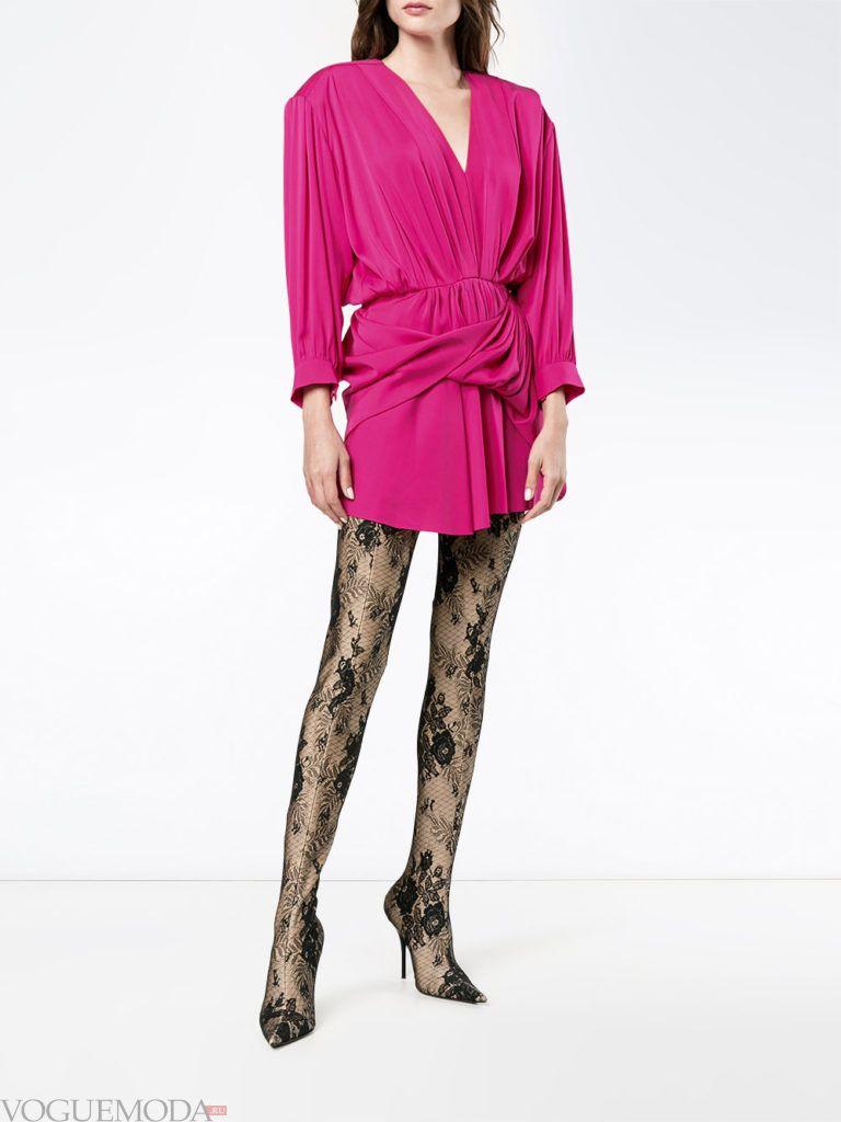 модное инфантильное мини платье розовое