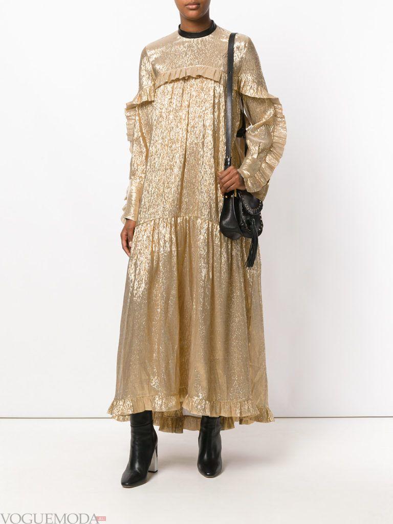 модное платье золотое
