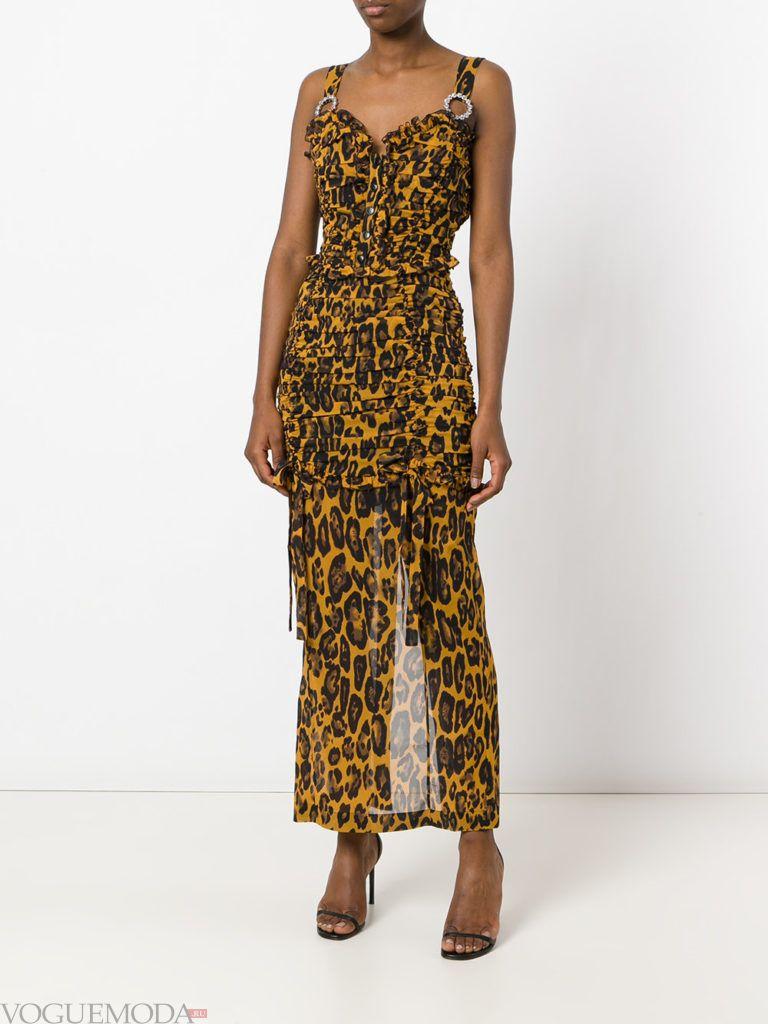 прозрачное платье с леопардовым принтом