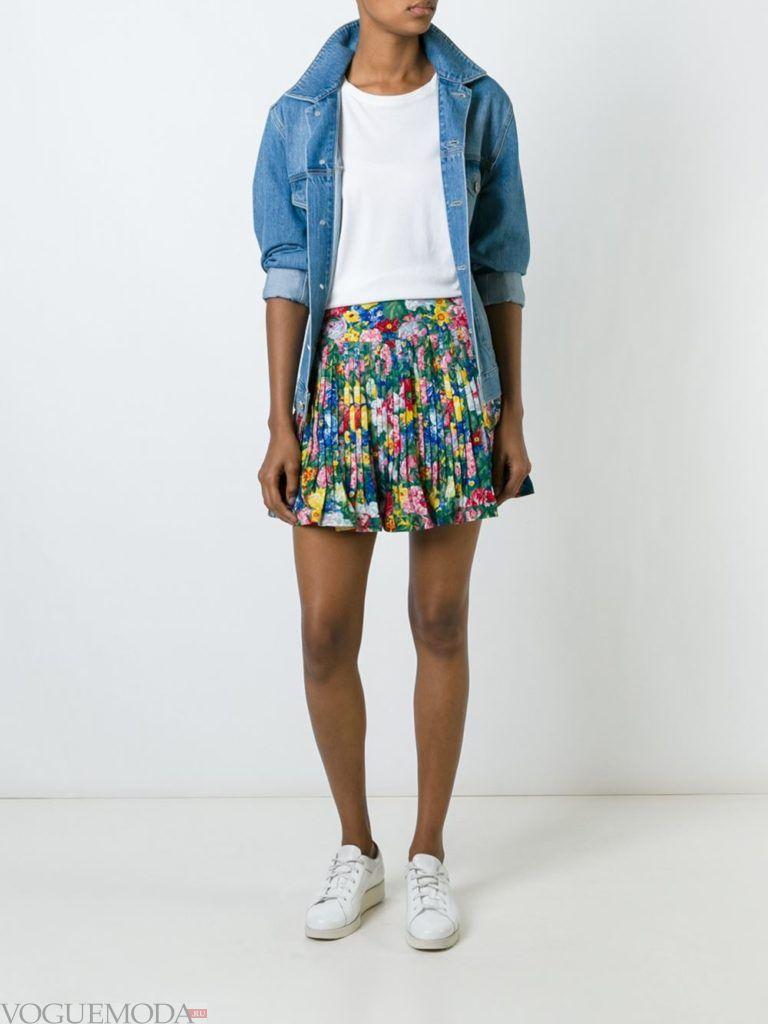 юбка плиссе с гавайским принтом