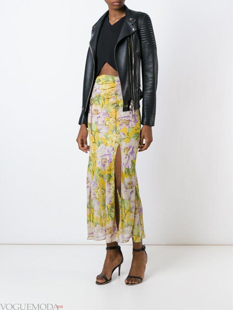 длинная юбка с гавайским принтом