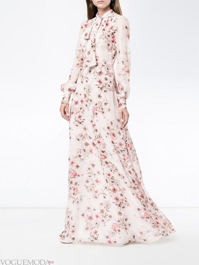 летнее макси платье с цветочным принтом