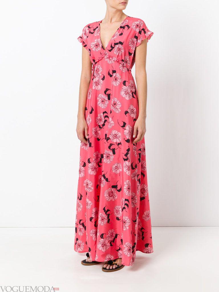 летнее платье с романтичным принтом яркое