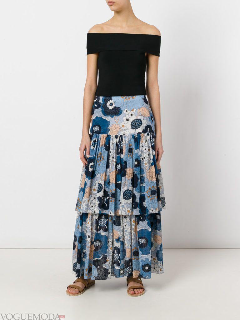 летняя юбка с романтичным принтом