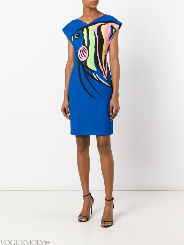 летнее синее платье с принтом поп-арт