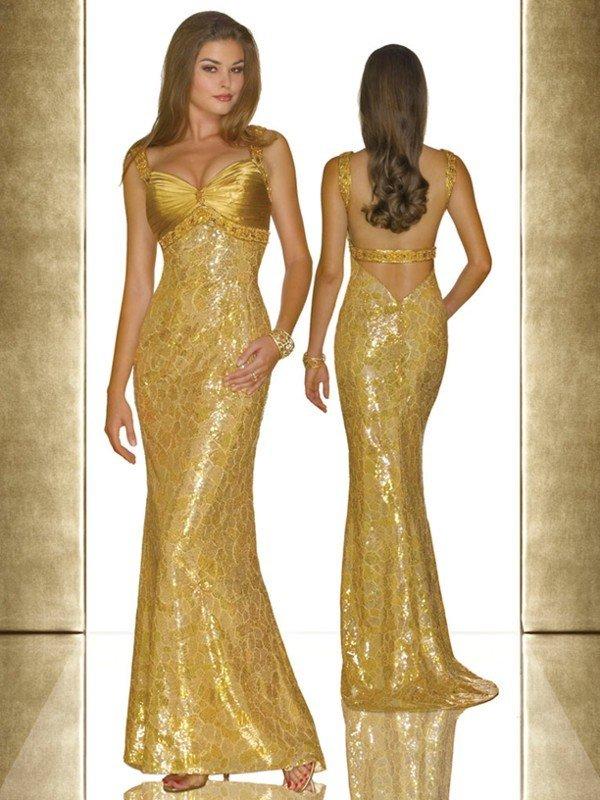 летнее желтое блестящее платье
