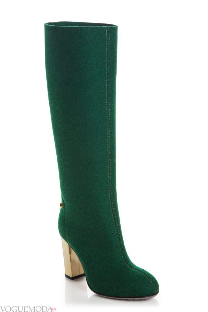 сапоги на устойчивом каблуке зеленые