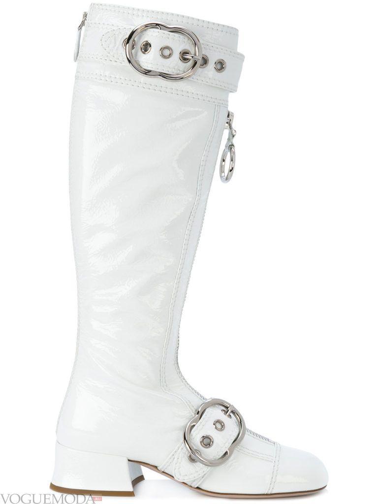 сапоги на устойчивом каблуке белые