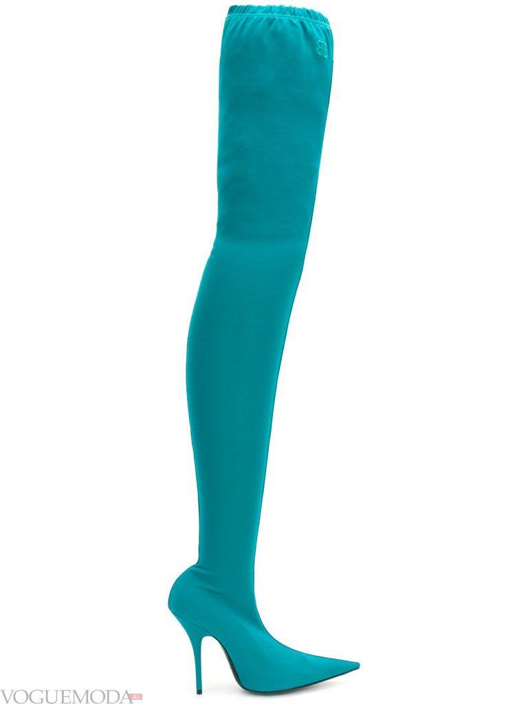 сапоги-чулки голубые