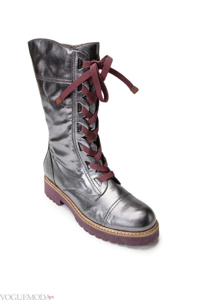 сапоги со шнуровкой серебристые