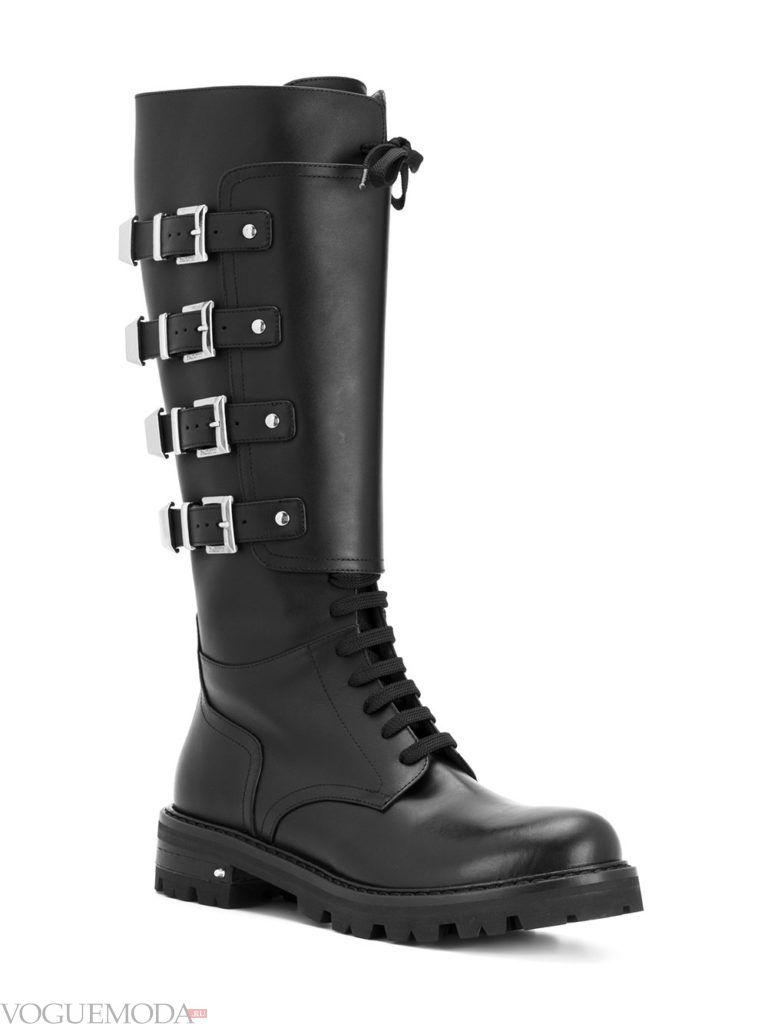 сапоги со шнуровкой кожаные