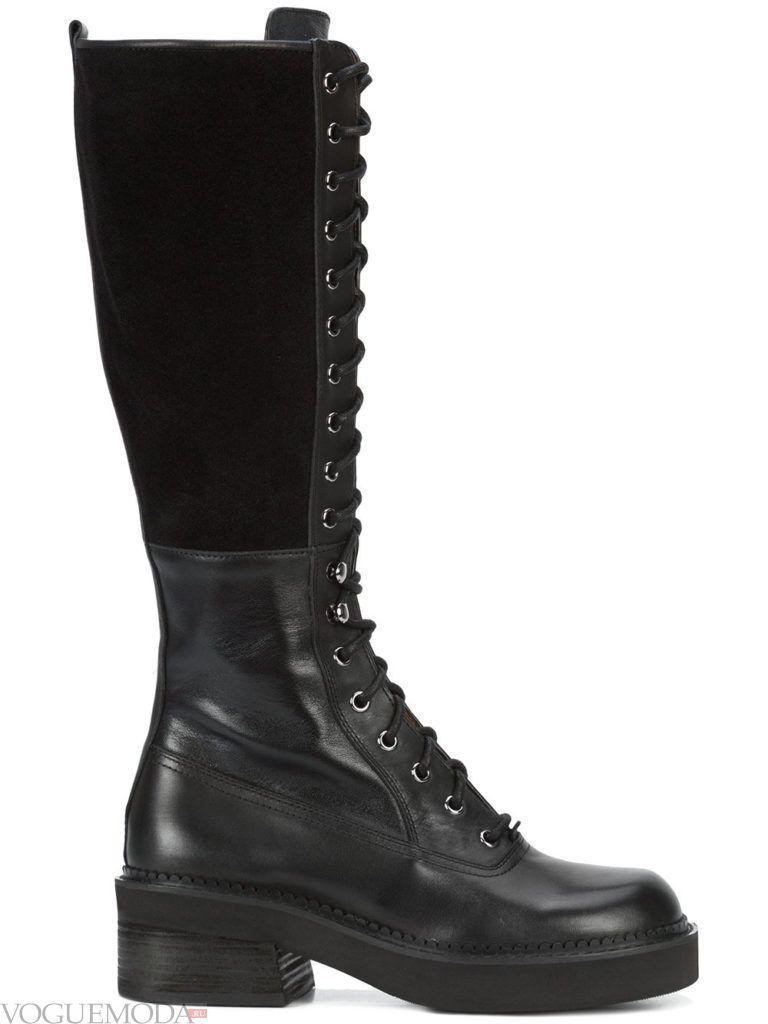 сапоги со шнуровкой черные