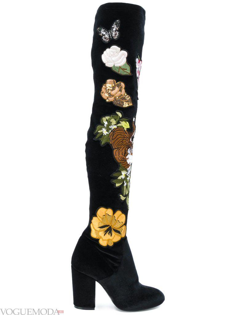 сапоги с цветочным декором