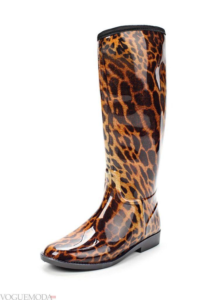 резиновые леопардовые сапоги весна