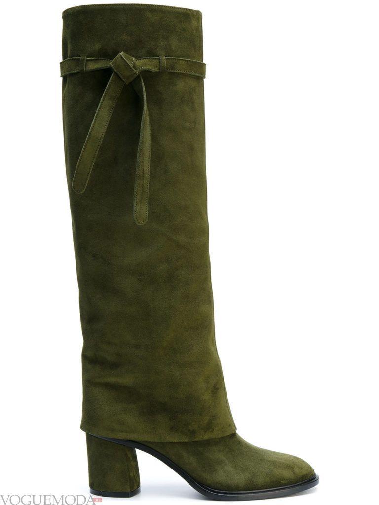 весенние сапоги на устойчивом каблуке зеленые