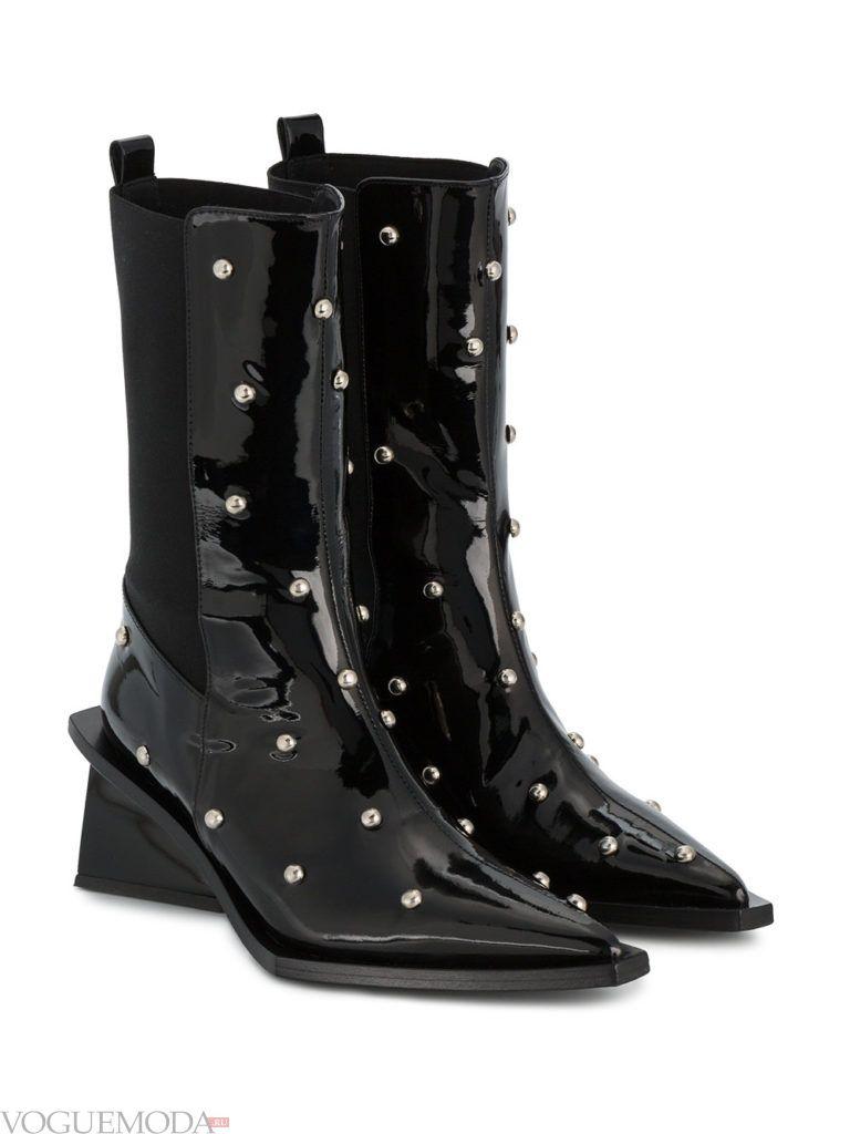 весенние сапоги на устойчивом каблуке черные