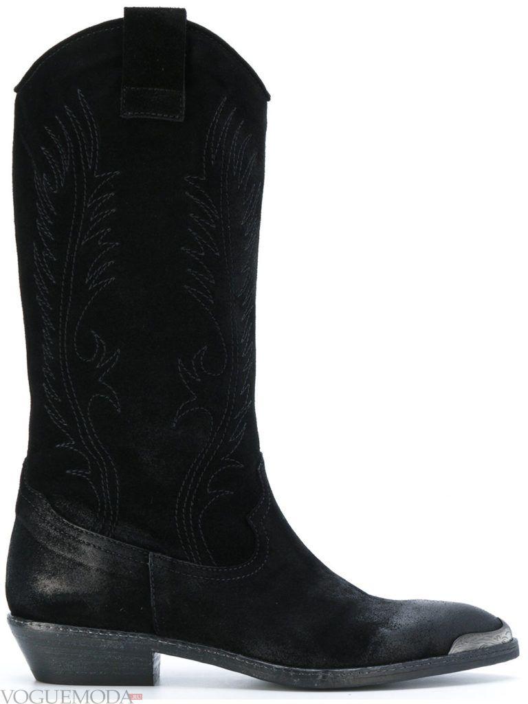 весенние ковбойские черные сапоги
