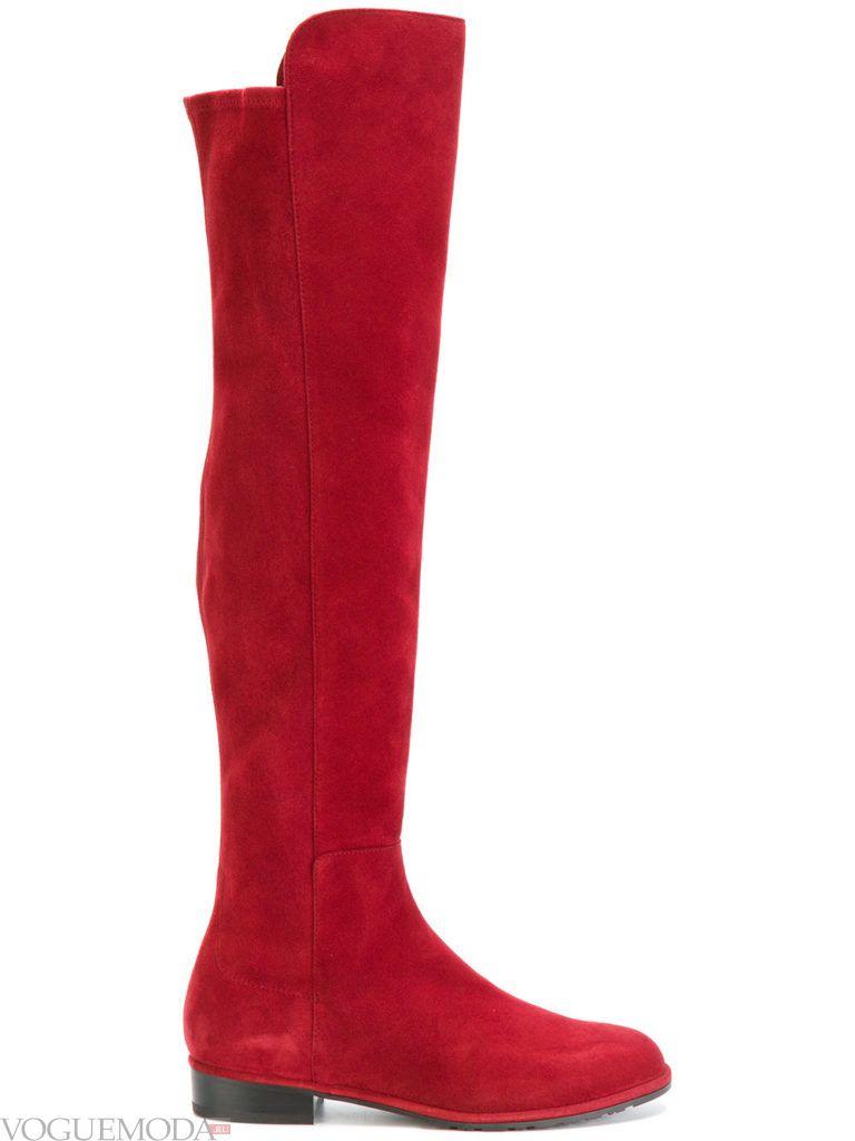 модные весенние красные сапоги