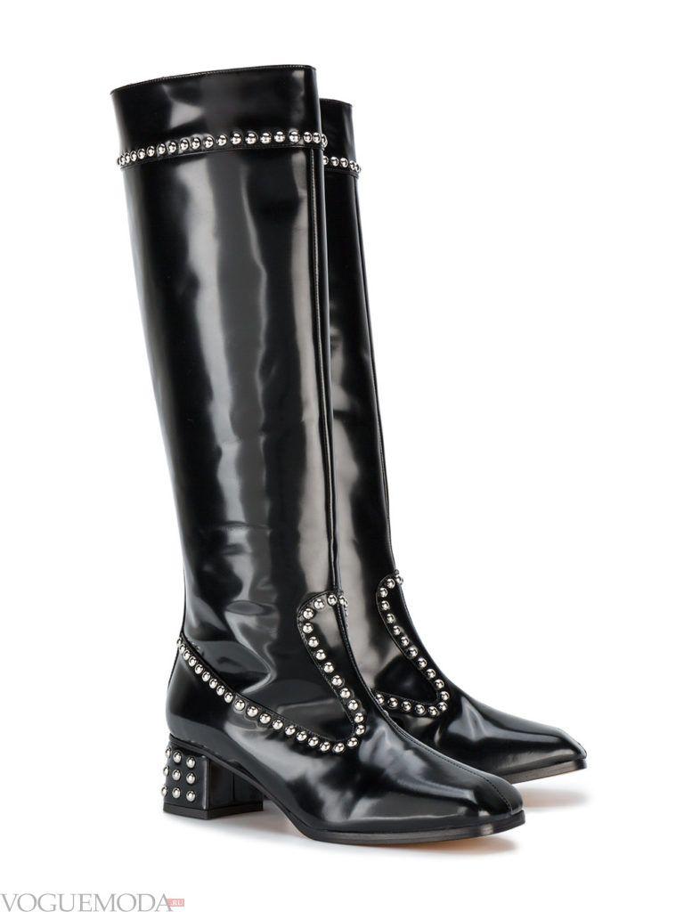модные весенние сапоги черные