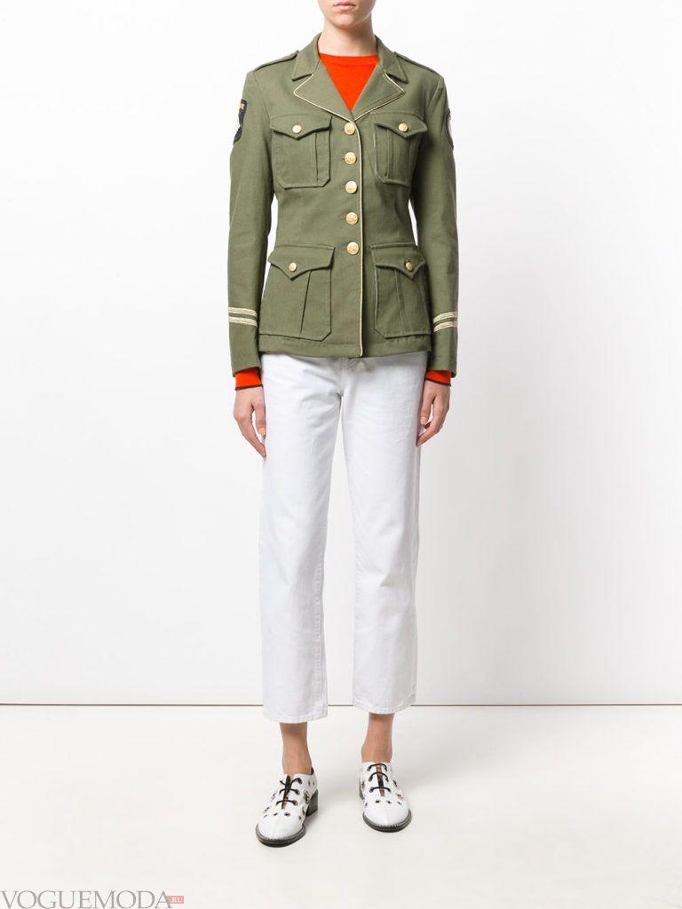 женский милитари жакет зеленый