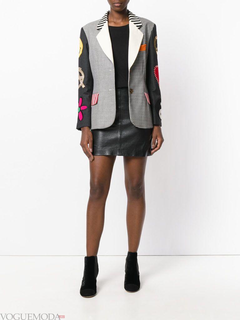 женский жакет с вышивкой двухцветный