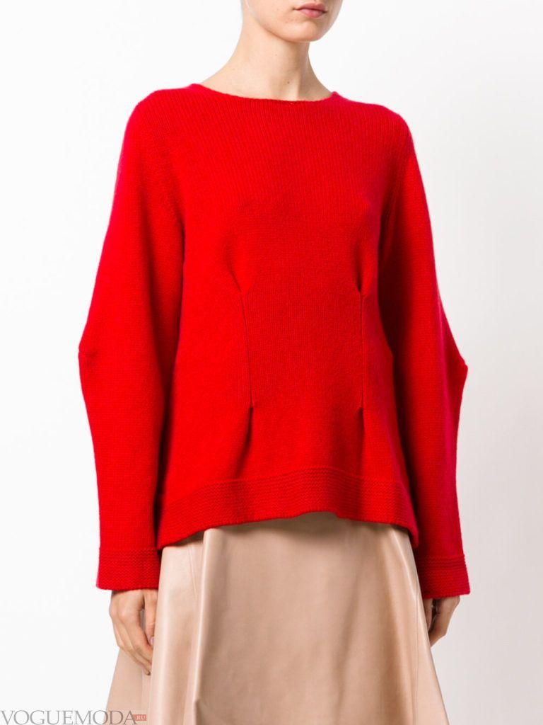 объемный свитер красный