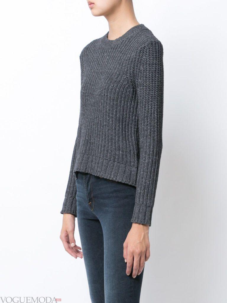 короткий свитер серый