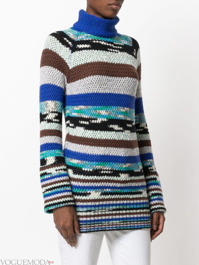 длинный свитер полосатый