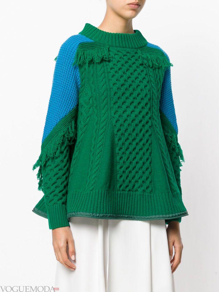 длинный свитер зеленый