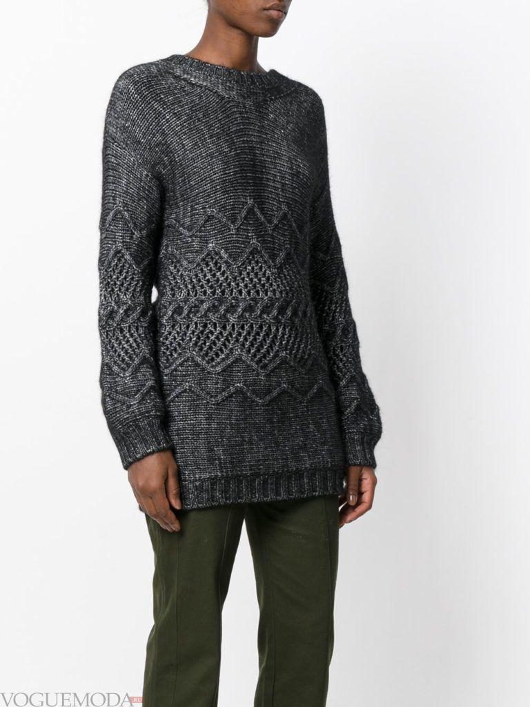 длинный свитер серый