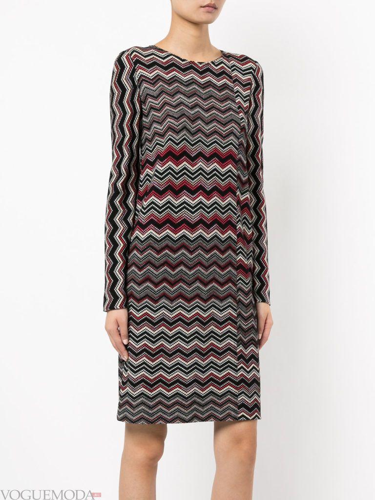 вязаное платье с принтом