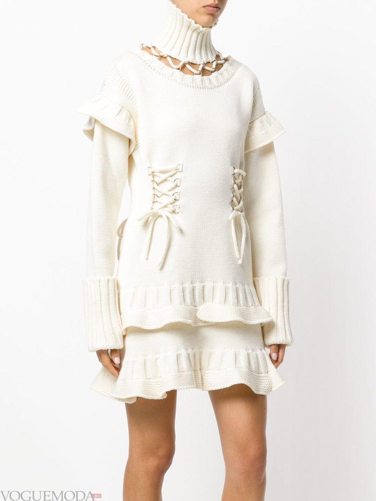 вязаное платье белое