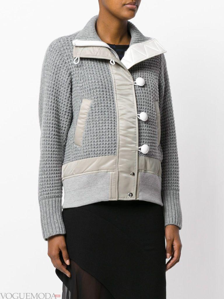 вязаная куртка серая