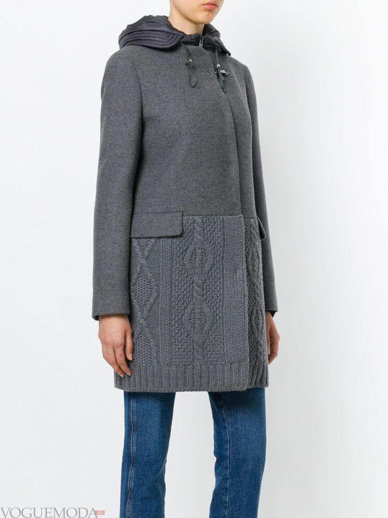 вязаное пальто серое